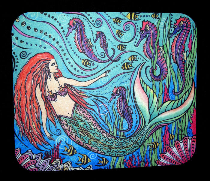 Mermaid and Seahorses Mousepad
