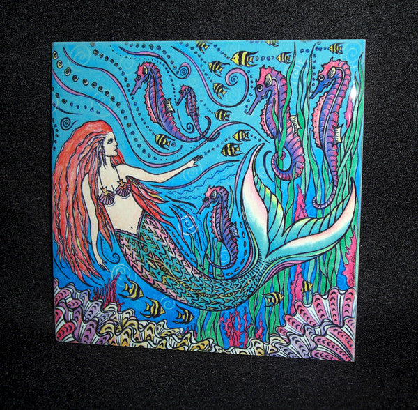 Mermaid and Seahorses Ceramic Tile