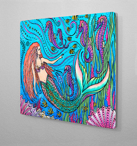 Mermaid and Seahorses Aluminum Wall Art
