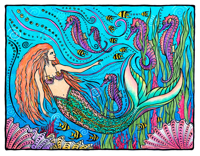 Mermaid and Seahorses Print