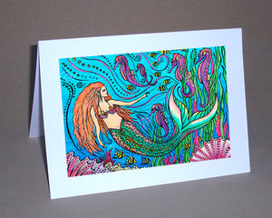 Mermaid and Seahorses Notecard