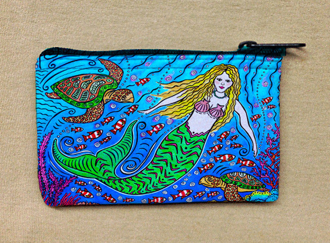 Mermaid and Turtles Coin Bag