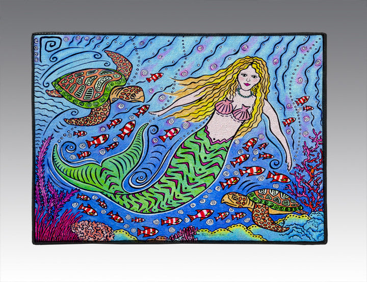 Mermaid and Turtles Door Mat