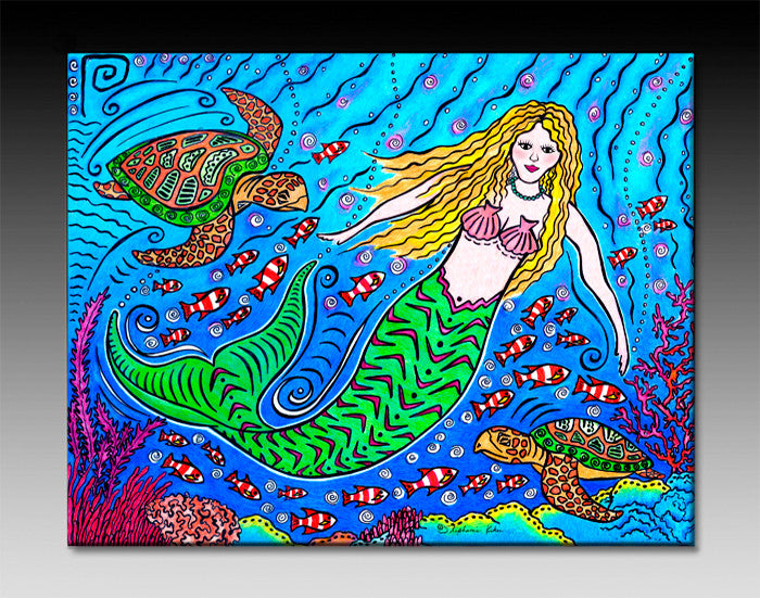 Mermaid and Turtles Ceramic Tile