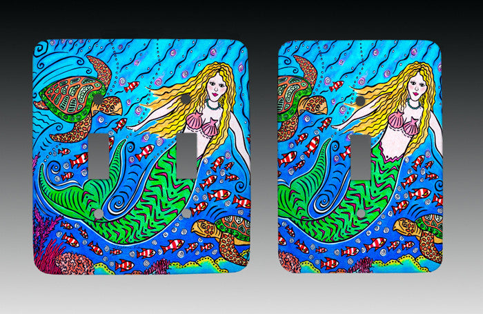Mermaid and Turtles Light Switch Cover