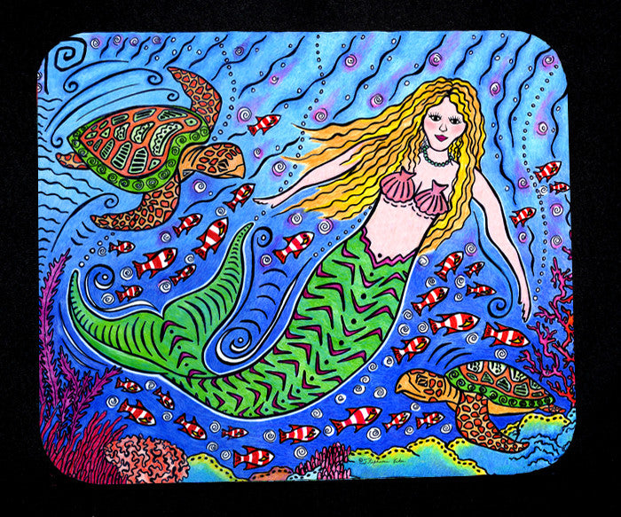 Mermaid and Turtles Mousepad