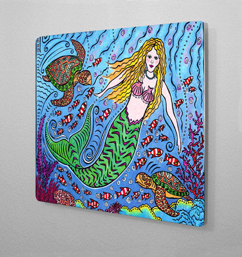 Mermaid and Turtles Aluminum Wall Art