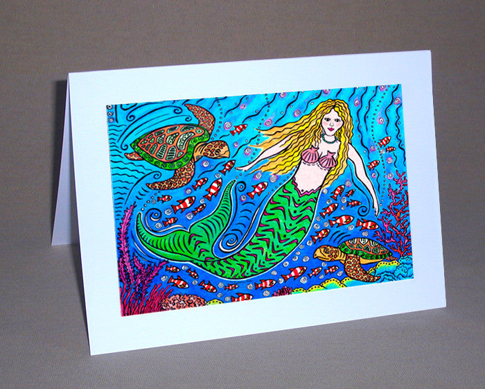 Mermaid and Turtles Notecard