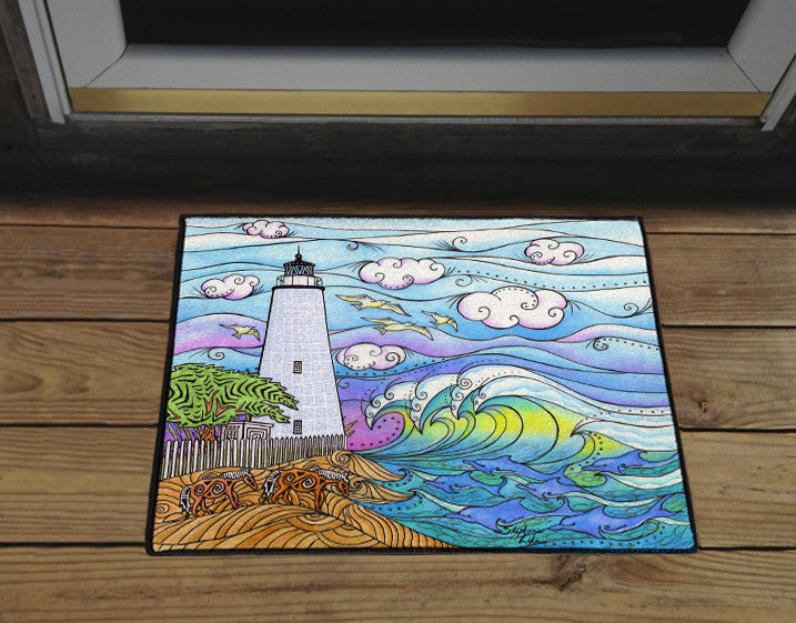 Ocracoke Waves Door Mat