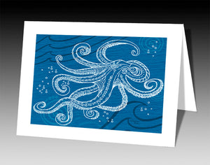 Octopus One Color Notecard