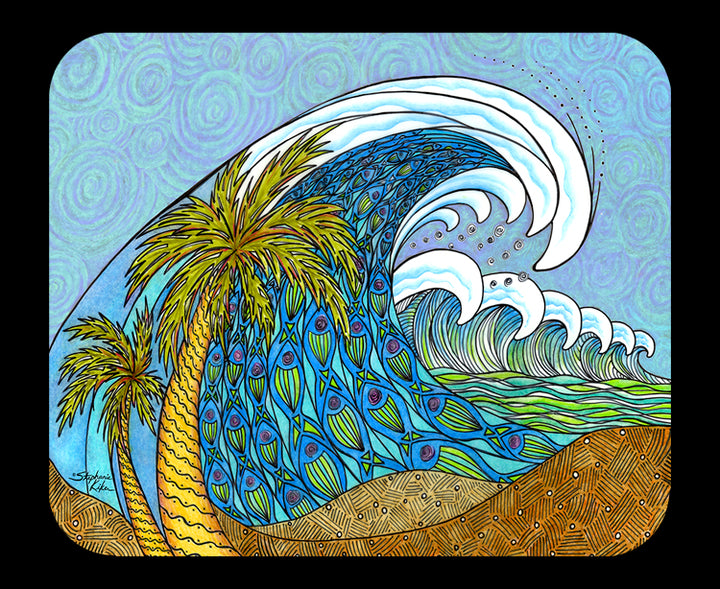 Palm Tree and Waves Mousepad