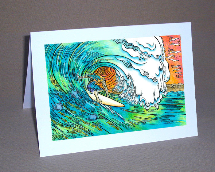 Sunset Surfer Notecard