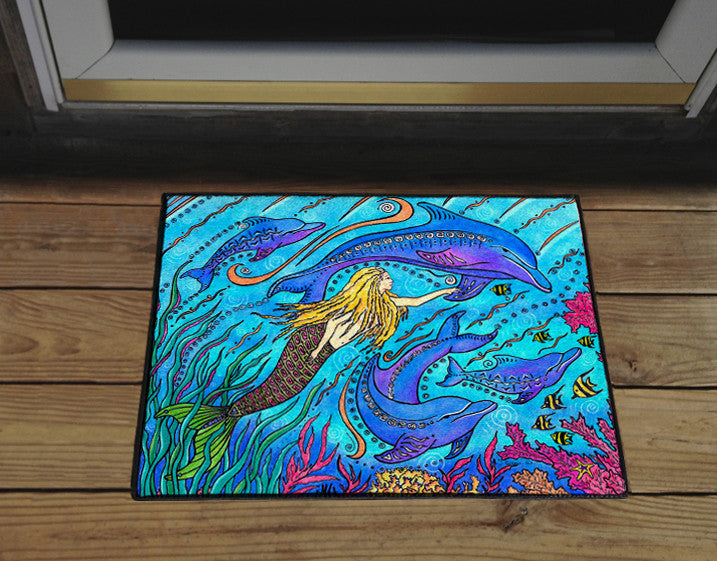 Swimming with Dolphins Door Mat