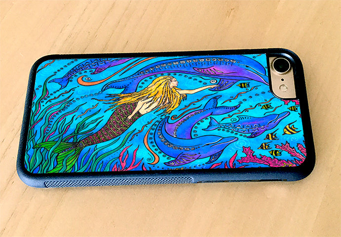 Swimming with Dolphins iPhone Case