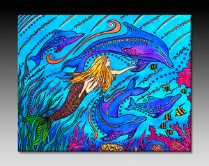 Swimming with Dolphins Ceramic Tile