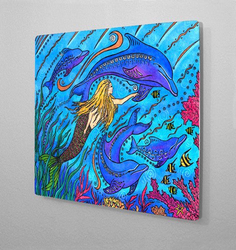 Swimming with Dolphins Aluminum Wall Art