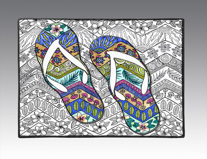 Tropical Flip Flops Door Mat