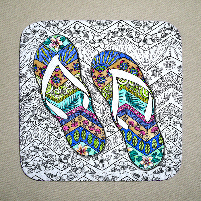 Tropical Flip Flops Coaster