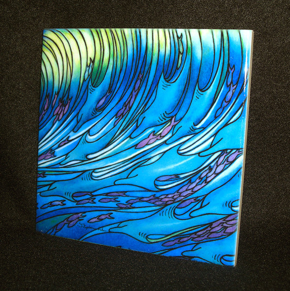 Waves of the Dolphin Ceramic Tile