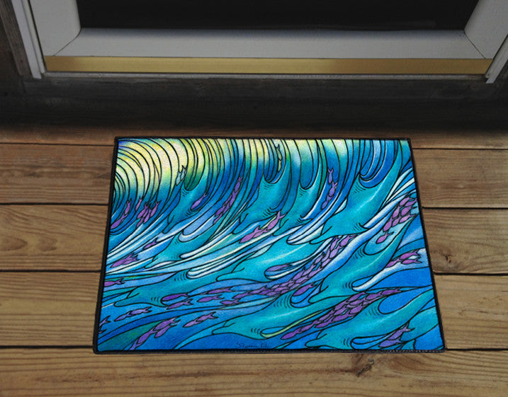 Waves of the Dolphin Door Mat