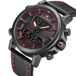 NAVIFORCE 9135 Sports LED Digital, Quartz, Leather Band, and Waterproof Clock for Men
