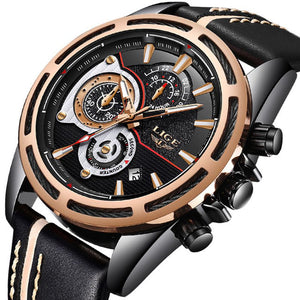 LIGE 9881 Business Sports Luxury Chronograph Waterproof Leather Band Watch