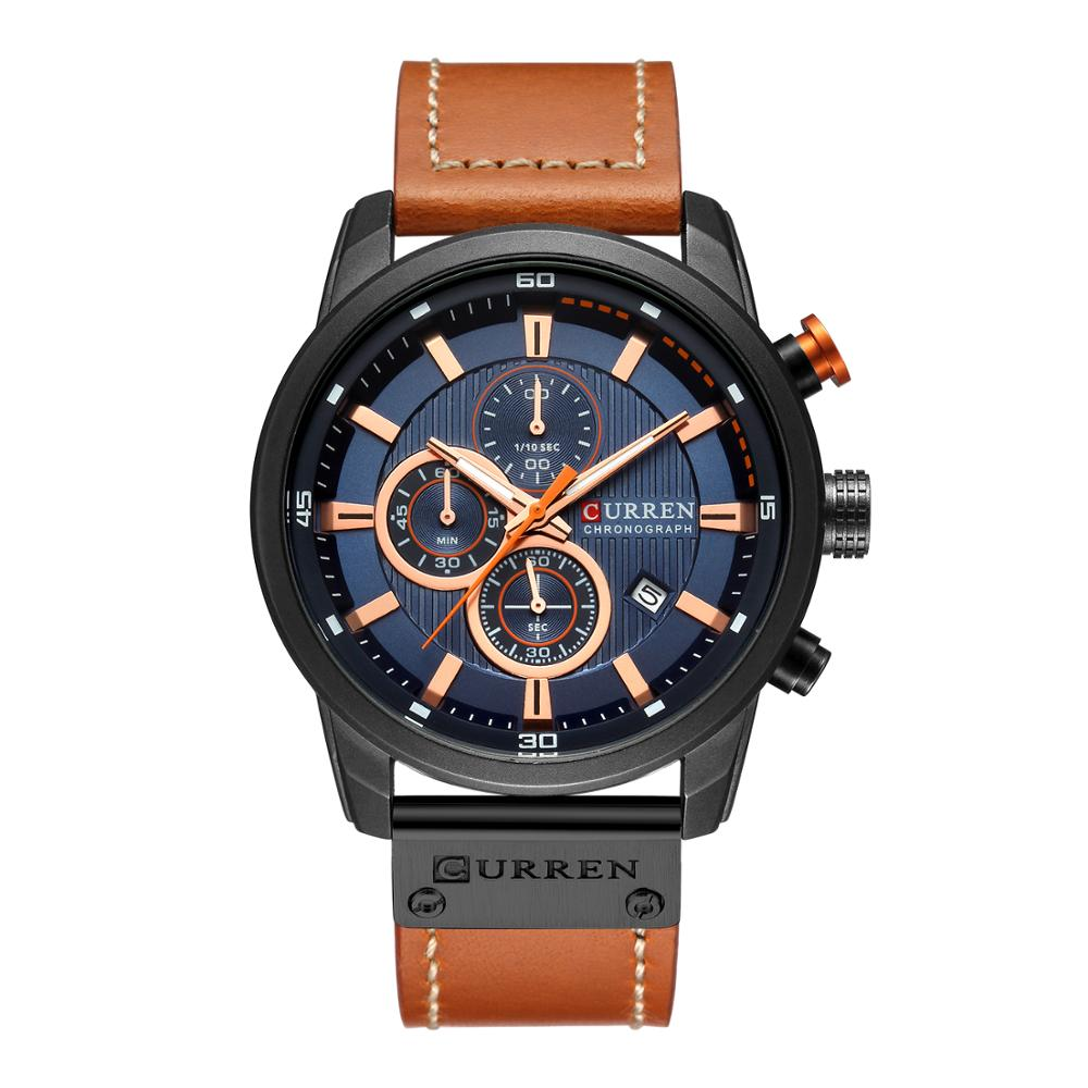 CURREN 8291 High Quality Sports Fashion Chronograph Water Resistant Leather Band Watch