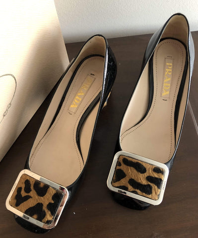 Image of Shoes Prada Patent Leopard low pump Size 35
