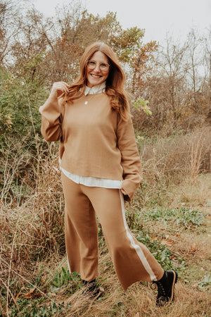 Rae Contrast Sweater Top - Camel - Elysian Boutique Online Women's Clothing