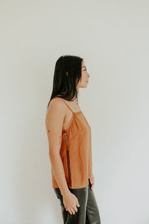Gwen Satin Camisole - Rust - Elysian Boutique Online Women's Clothing