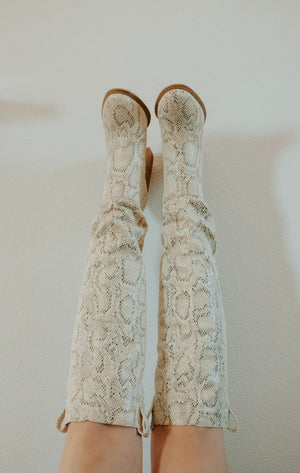 Keely Snake Print Tall Boot - Elysian Boutique