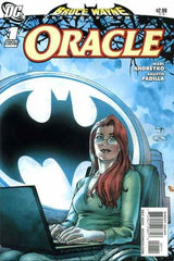 Oracle Comic Book Cover - batman light behind female with red hair sitting at a computer