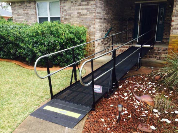 Image of a wheelchair ramp outside of home