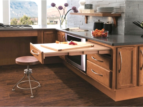 Image of a slide out workspace in the kitchen