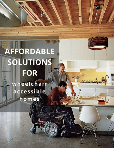 "Graphic: ""affordable solution for wheelchair accessible homes."" Boy in wheelchair with older man in kitchen."