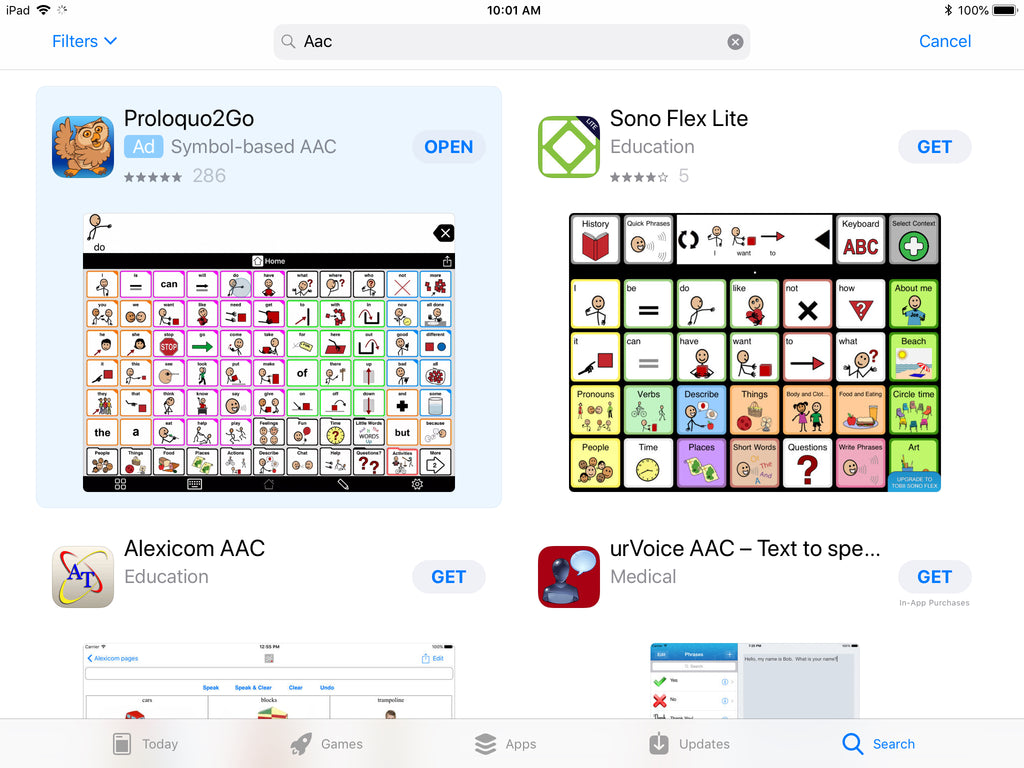 Screenshot of AAC apps in App Store