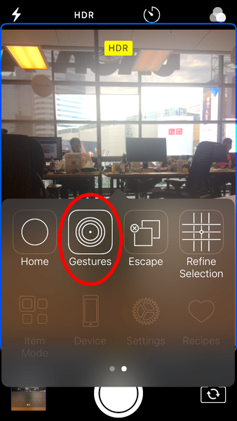 Switch Control selecting gestures iPhone camera