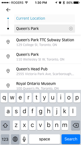 Uber destination search