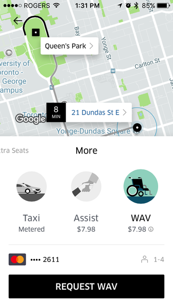 "Uber ""more"" tab with ASSIST and WAV"