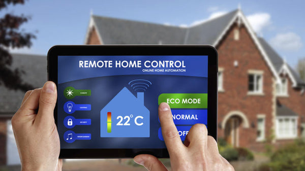 Tablet with smart home app to monitor power and temperature