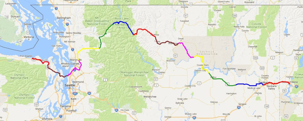 Map of Ian's Ride 2018 route