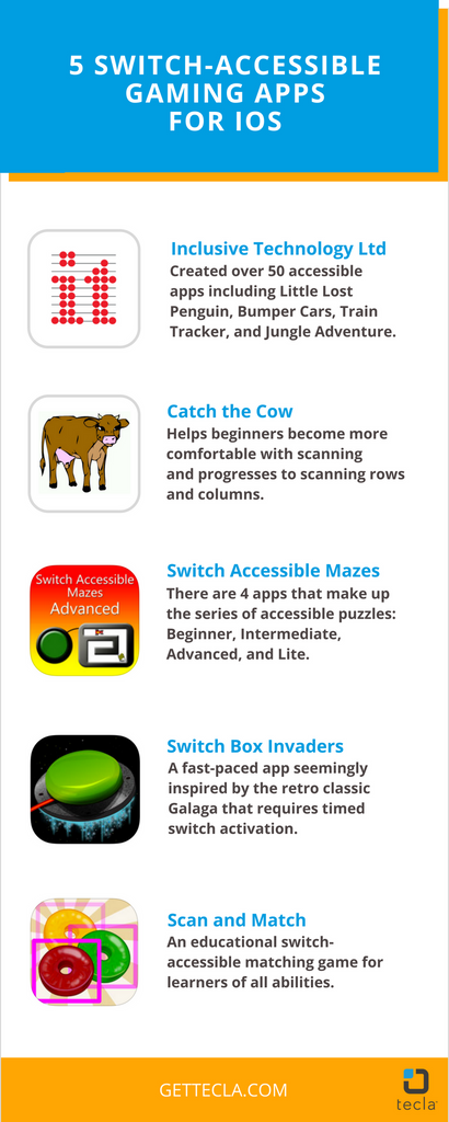 Infographic: 5 switch-accessible gaming apps for iOS
