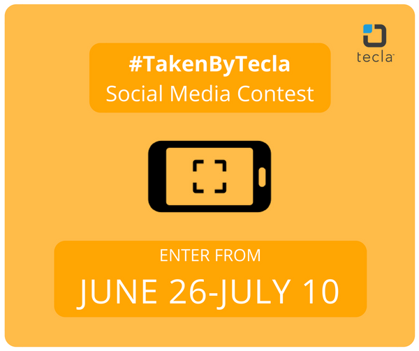 graphic: #takenbytecla social media contest. Enter from June 26 to July 10