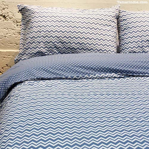 White and Blue Bed Set