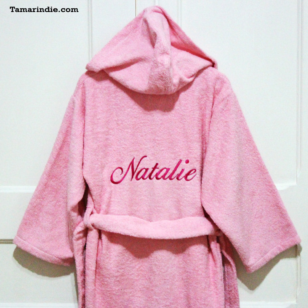 Thick Cherry Blossom Pink Hooded Bathrobe for Grownups or Kids ... 8b9797a89