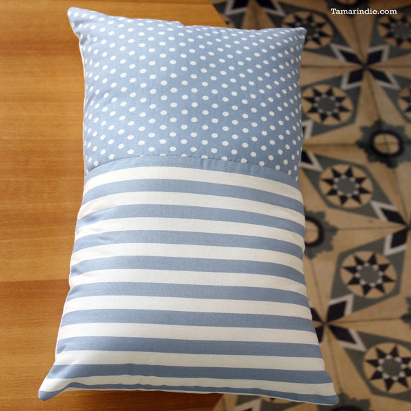White and Blue Bed Spread