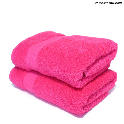 Set of Two Fushia Hand Towels|منشفتي يدّ لون فوشيا