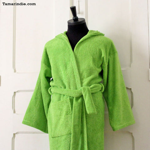 Thick Green Hooded Bathrobe for Grownups or Kids ... 718533ec3