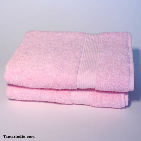 Set of Two Large Pink Towels|منشفتان كبيرتان لونهما وردي