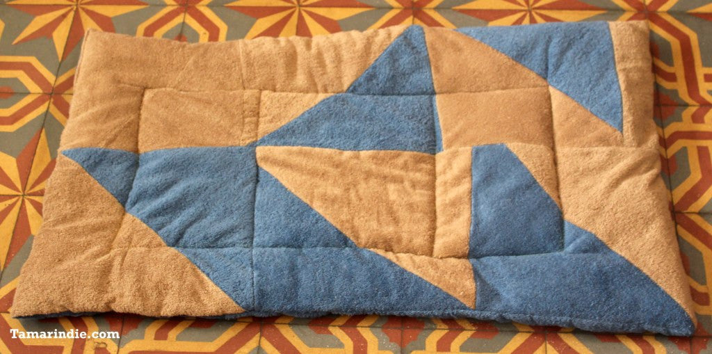 Blue & Beige Patchwork Towel Mat|بساط باتشورك ازرق وبيج